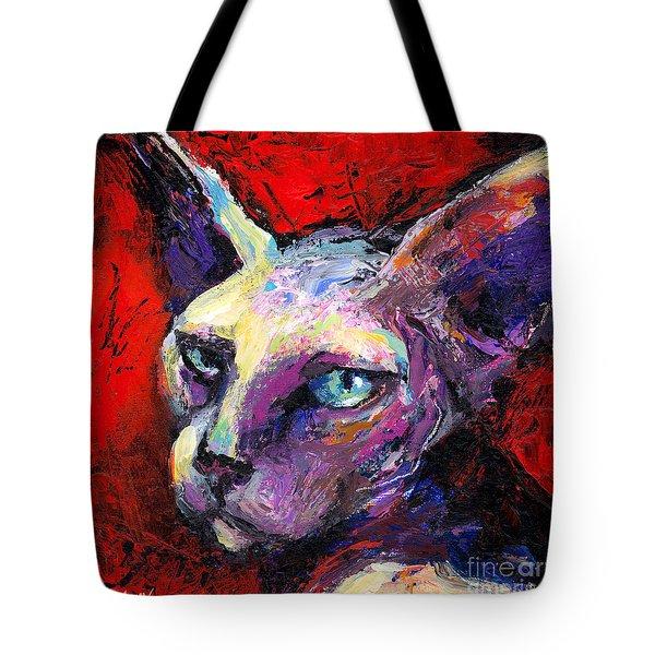 Sphynx Sphinx Cat Painting  Tote Bag by Svetlana Novikova