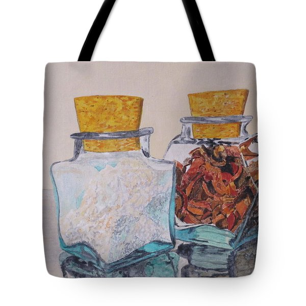 Tote Bag featuring the painting Spice Jars by Hilda and Jose Garrancho