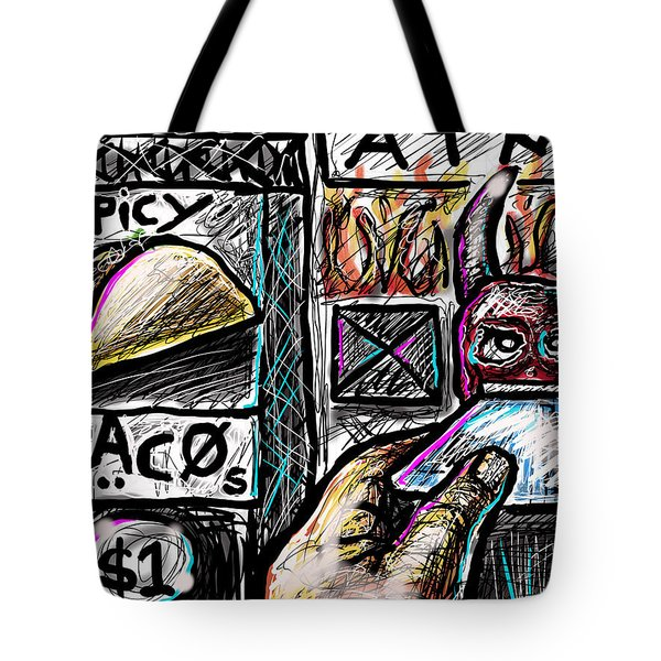 Tote Bag featuring the digital art Spicy Tacos by Joe Bloch