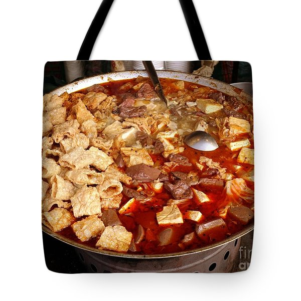Tote Bag featuring the photograph Spicy Tofu Dish With Duck Blood Cakes by Yali Shi