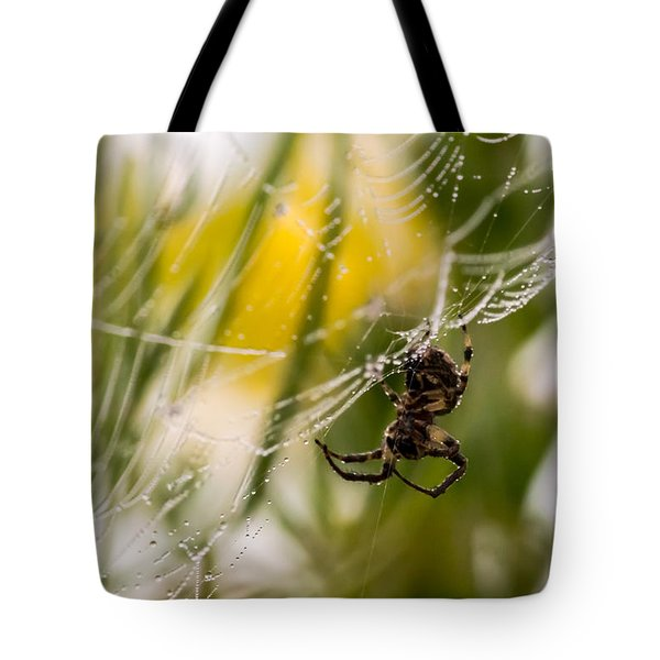 Spider And Spider Web With Dew Drops 04 Tote Bag