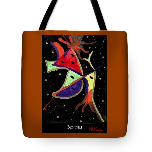 Tote Bag featuring the painting Spider by Clarity Artists