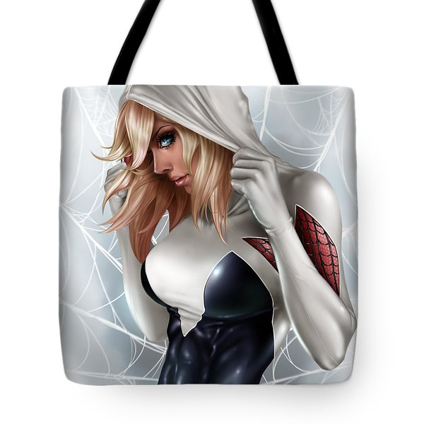 Tote Bag featuring the painting Spider Gwen by Pete Tapang