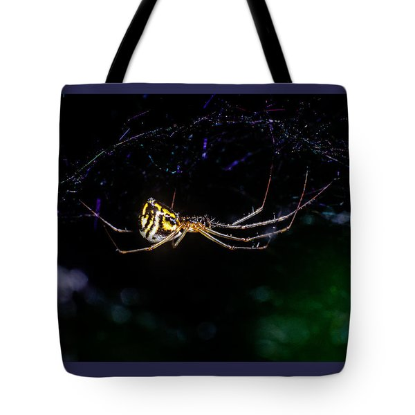 Spider Hanging In Web Tote Bag by John Brink