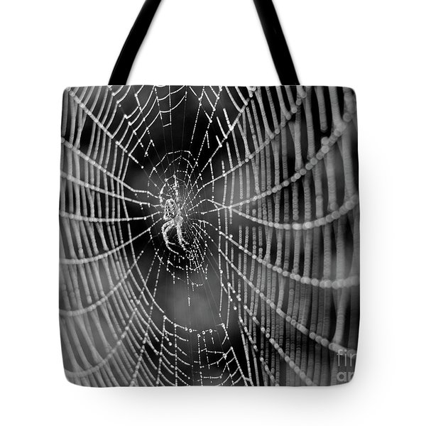 Spider In A Dew Covered Web - Black And White Tote Bag