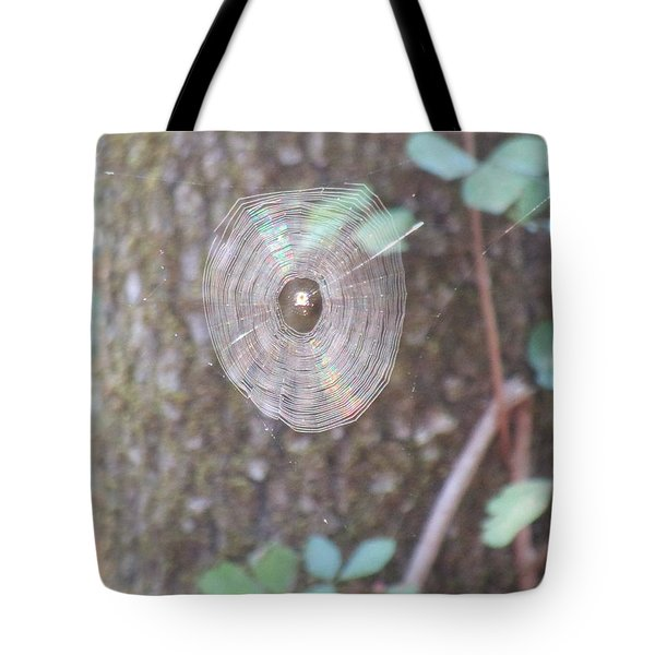 Tote Bag featuring the photograph Spider In The Round by Marie Neder