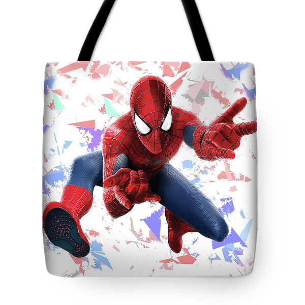 Tote Bag featuring the mixed media Spider Man Splash Super Hero Series by Movie Poster Prints