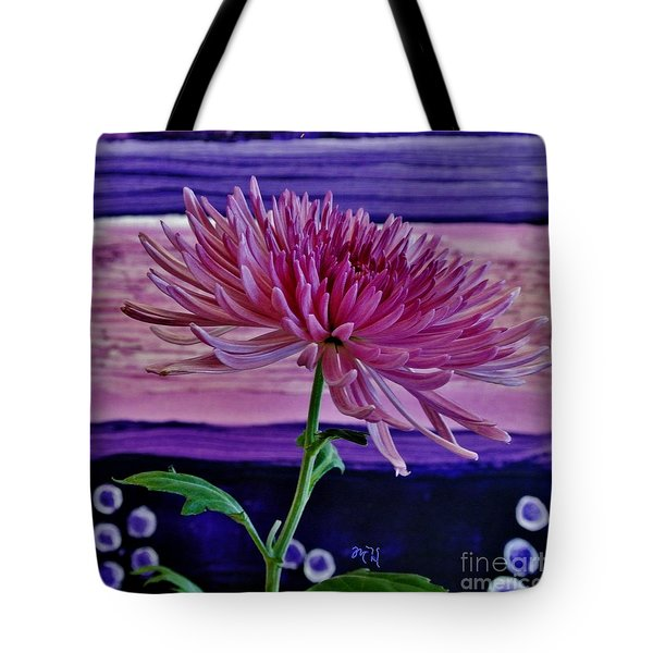 Tote Bag featuring the photograph Spider Mum With Abstract by Marsha Heiken