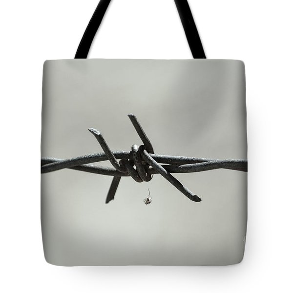Spider On Barbed Wire In Black And White Tote Bag