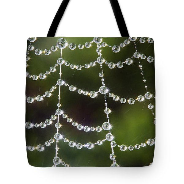 Tote Bag featuring the photograph Spider Web Decorated By Morning Fog by William Lee
