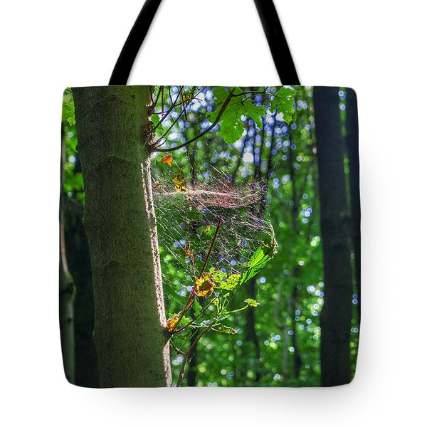 Spider Web In A Forest Tote Bag