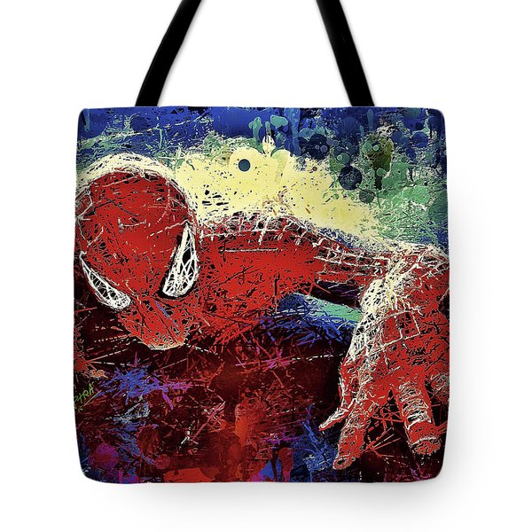 Tote Bag featuring the mixed media Spiderman Climbing  by Al Matra