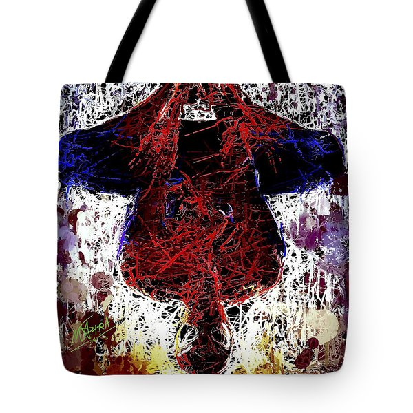 Tote Bag featuring the mixed media Spiderman Hanging Around by Al Matra