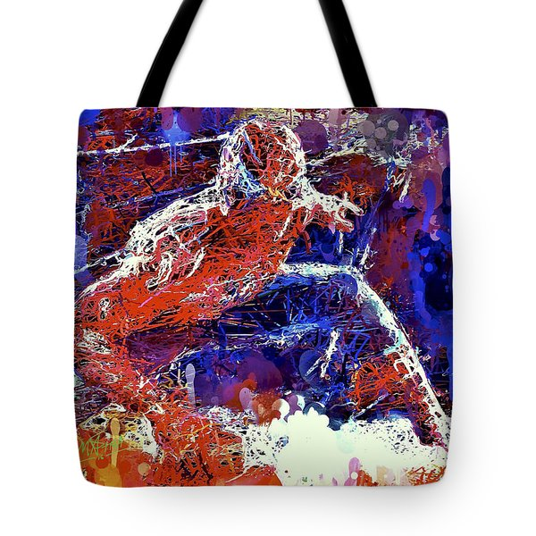 Tote Bag featuring the mixed media Spiderman  by Al Matra