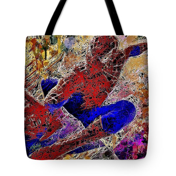 Tote Bag featuring the mixed media Spiderman 2 by Al Matra