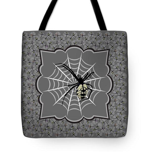 Spiders And Webs, Gray And Black Tote Bag