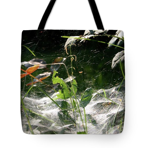 Spiderweb Over Rose Plants Tote Bag