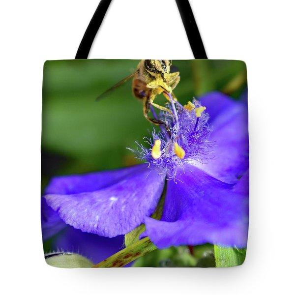 Spiderwort And The Bee Tote Bag