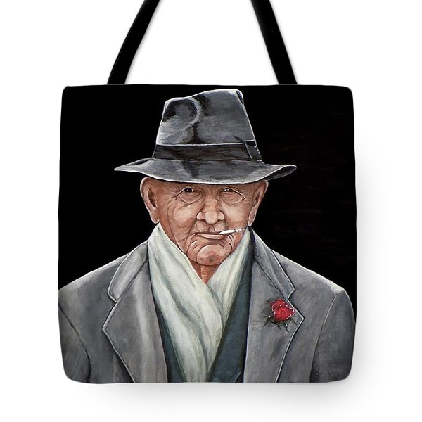 Tote Bag featuring the painting Spiffy Old Man by Judy Kirouac