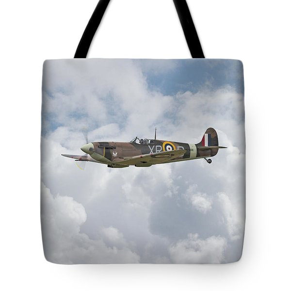 Tote Bag featuring the digital art   Spifire - Us Eagle Squadron by Pat Speirs