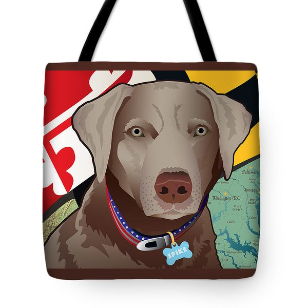 Spike, The Maryland Silver Lab Tote Bag