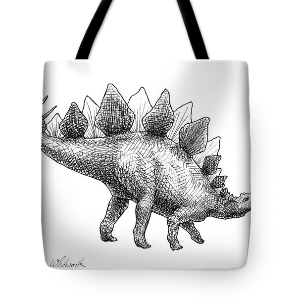 Stegosaurus - Dinosaur Decor - Black And White Dino Drawing Tote Bag