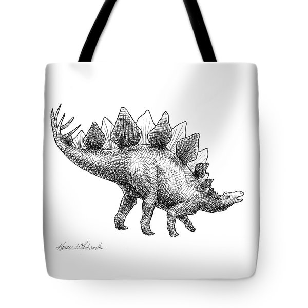 Spike The Stegosaurus - Black And White Dinosaur Drawing Tote Bag by Karen Whitworth