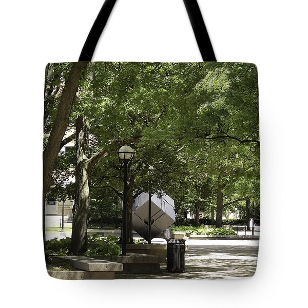 Spinning Cube On Campus Tote Bag by Phil Perkins