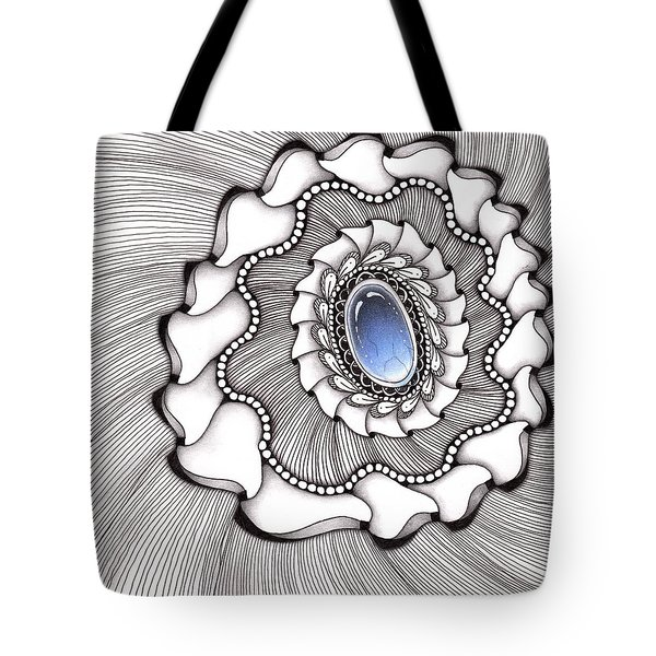 Tote Bag featuring the drawing Spinning Gemstone Flower by Jan Steinle