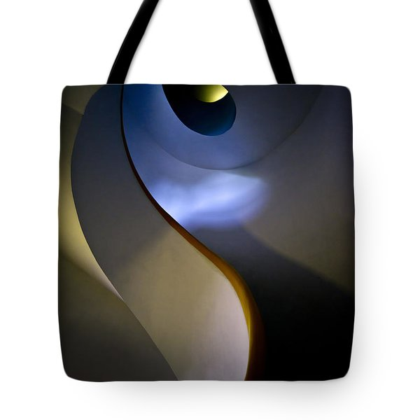 Tote Bag featuring the photograph Spiral Concrete Modern Staircase by Jaroslaw Blaminsky