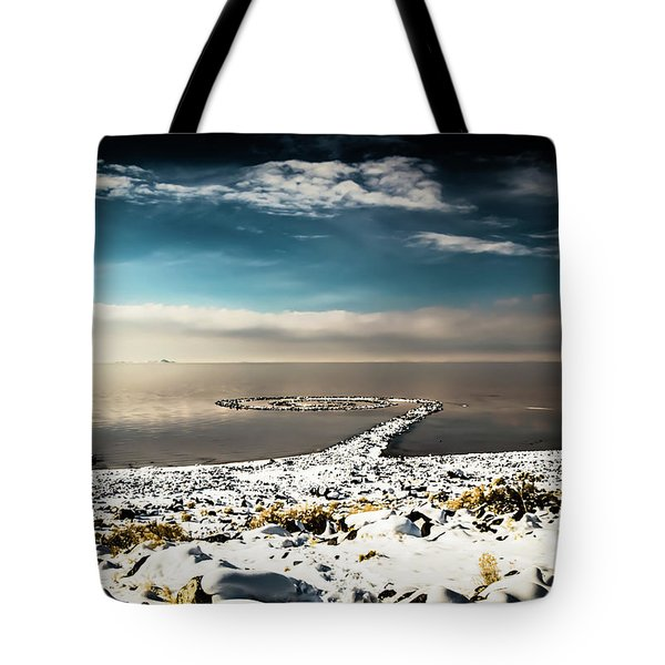 Tote Bag featuring the photograph Spiral Jetty In Winter by Bryan Carter
