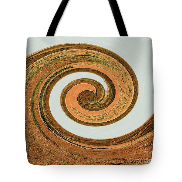 Tote Bag featuring the digital art Spiral Of Red Rock, Sand, And Sandstone  by Merton Allen