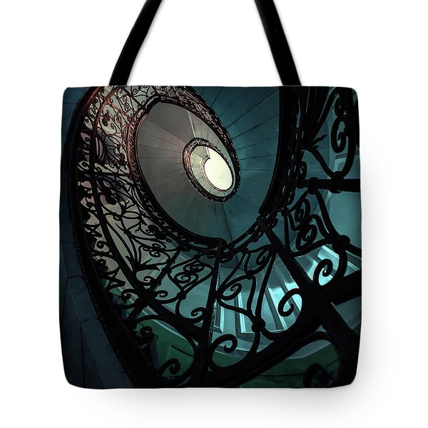 Tote Bag featuring the photograph Spiral Ornamented Staircase In Blue And Green Tones by Jaroslaw Blaminsky