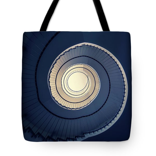 Tote Bag featuring the photograph Spiral Staircase In Blue And Cream Tones by Jaroslaw Blaminsky