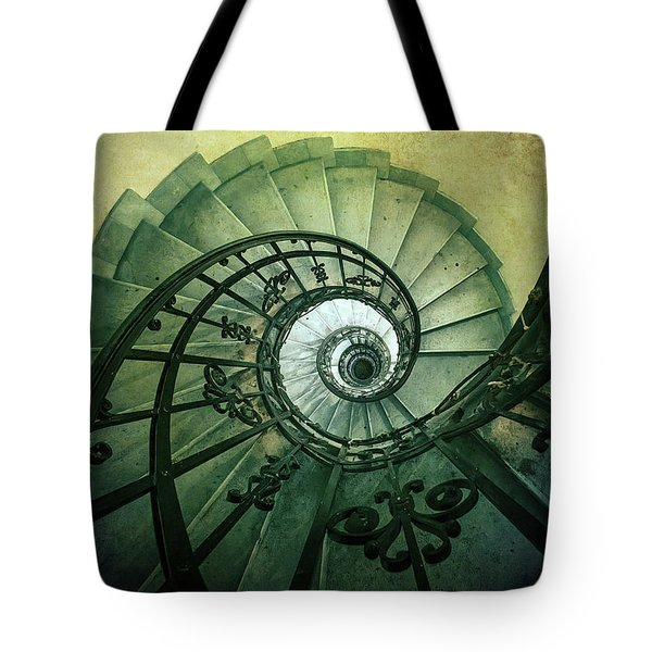 Tote Bag featuring the photograph Spiral Stairs In Green Tones by Jaroslaw Blaminsky