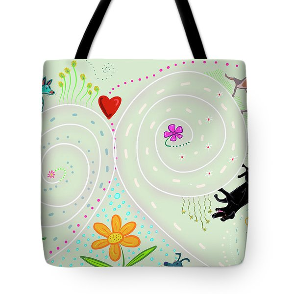 Tote Bag featuring the digital art Spirals Of Dogs by Marti McGinnis