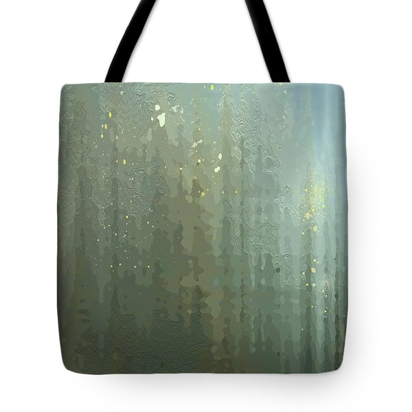 Tote Bag featuring the digital art Spires Through A Window by Gina Harrison