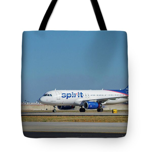 Tote Bag featuring the photograph Spirit Airlines Airbus A320 N608nk Airplane Art by Reid Callaway