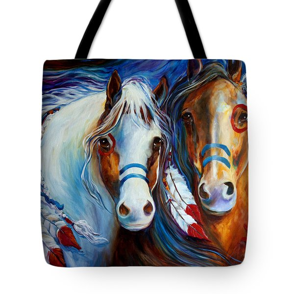 Spirit Indian War Horses Commission Tote Bag by Marcia Baldwin