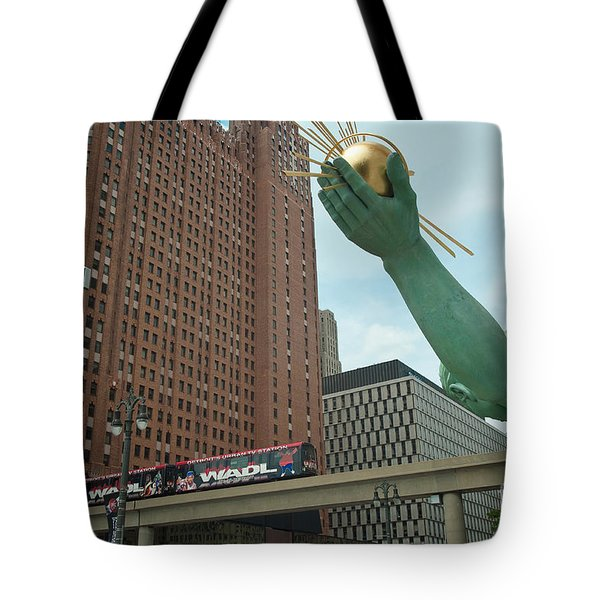 Spirit Of Detroit And People Mover Tote Bag