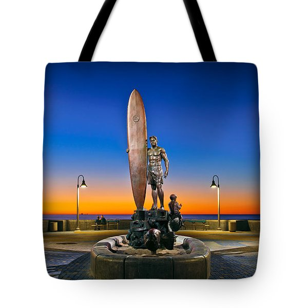 Spirit Of Imperial Beach Surfer Sculpture Tote Bag