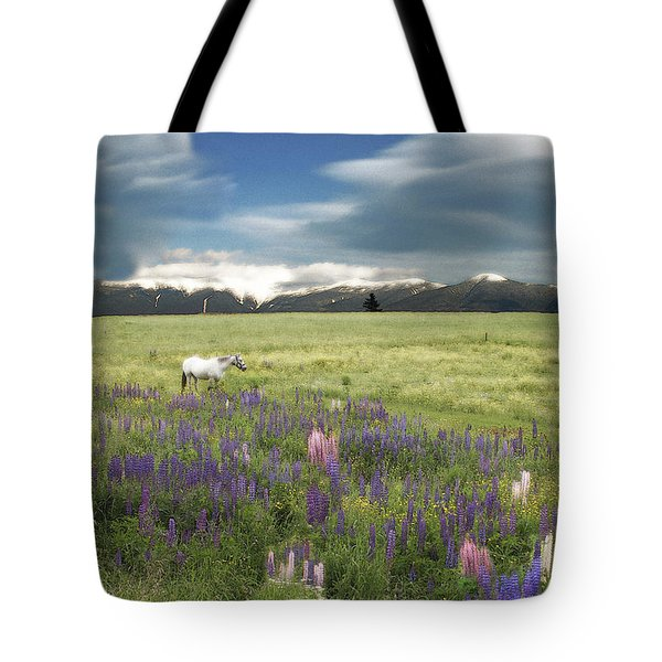 Spirit Pony In High Country Lupine Field Tote Bag