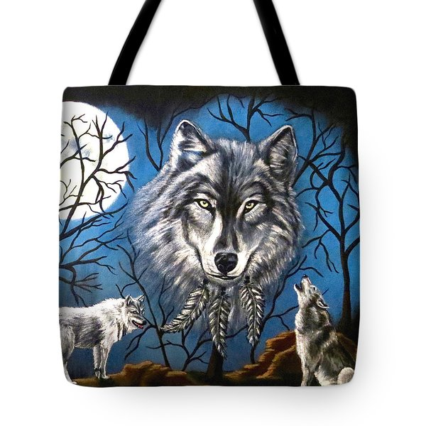Tote Bag featuring the painting Spirit Wolf by Teresa Wing