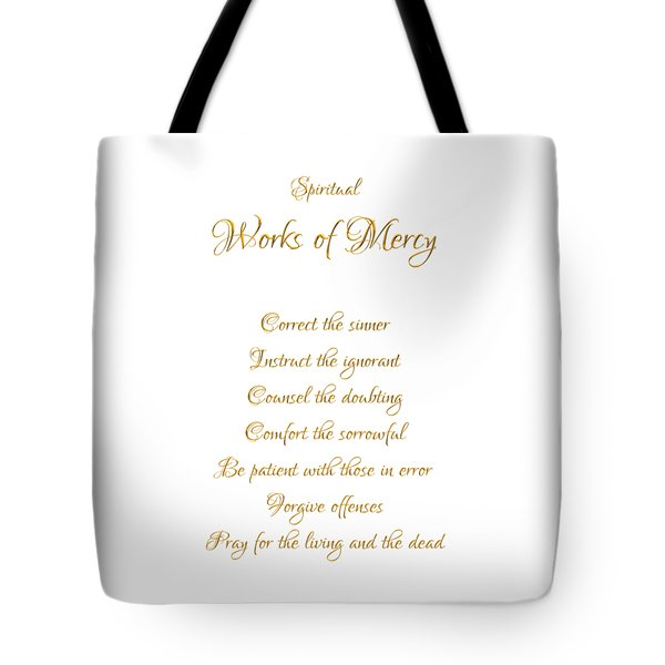Spiritual Works Of Mercy White Background Tote Bag
