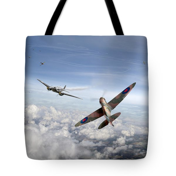 Tote Bag featuring the photograph Spitfire Attacking Heinkel Bomber by Gary Eason