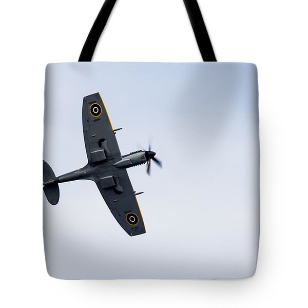 Tote Bag featuring the photograph Spitfire From Below Sunderland Air Show 2014 by Scott Lyons