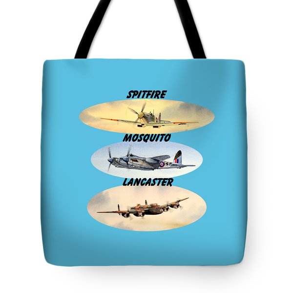 Spitfire Mosquito Lancaster Aircraft With Name Banners Tote Bag by Bill Holkham