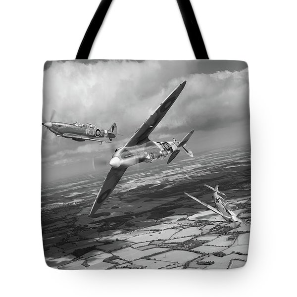 Tote Bag featuring the photograph Spitfire Tr 9 Fighter Affiliation Bw Version by Gary Eason