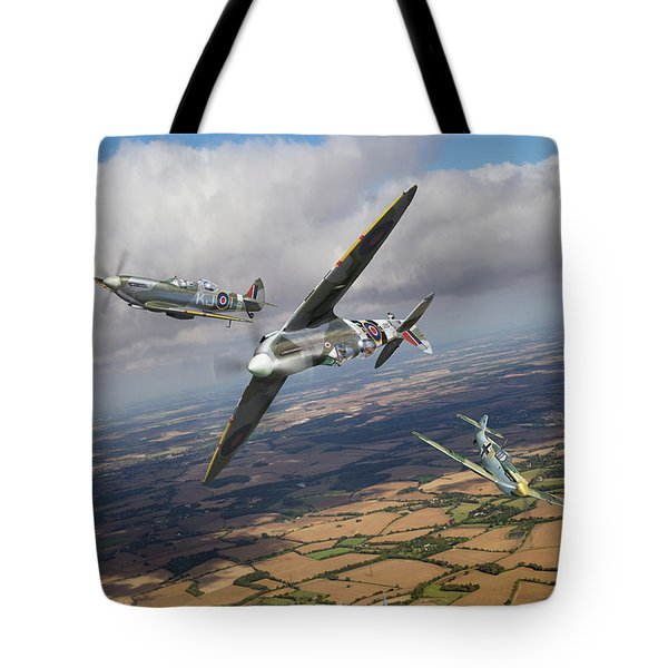 Tote Bag featuring the photograph Spitfire Tr 9 Fighter Affiliation by Gary Eason