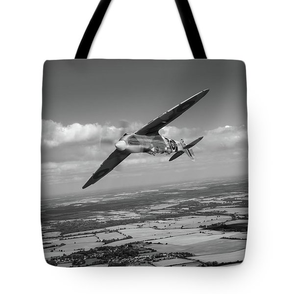 Tote Bag featuring the photograph Spitfire Tr 9 On A Roll Bw Version by Gary Eason